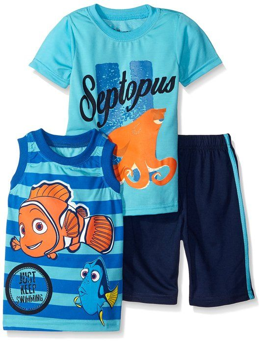 Toddler Boys 3 Piece Finding Dory Just Keep Swimming Short Set Blue 2T