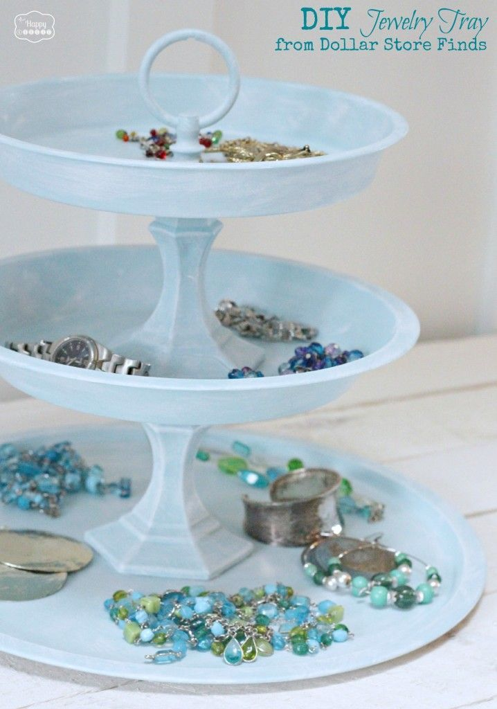 DIY Jewelry Tray from Dollar Store Finds at The Happy Housie | Bedroom | Pinterest | Pound shops Trays and Shop & DIY Jewelry Tray from Dollar Store Finds at The Happy Housie ...