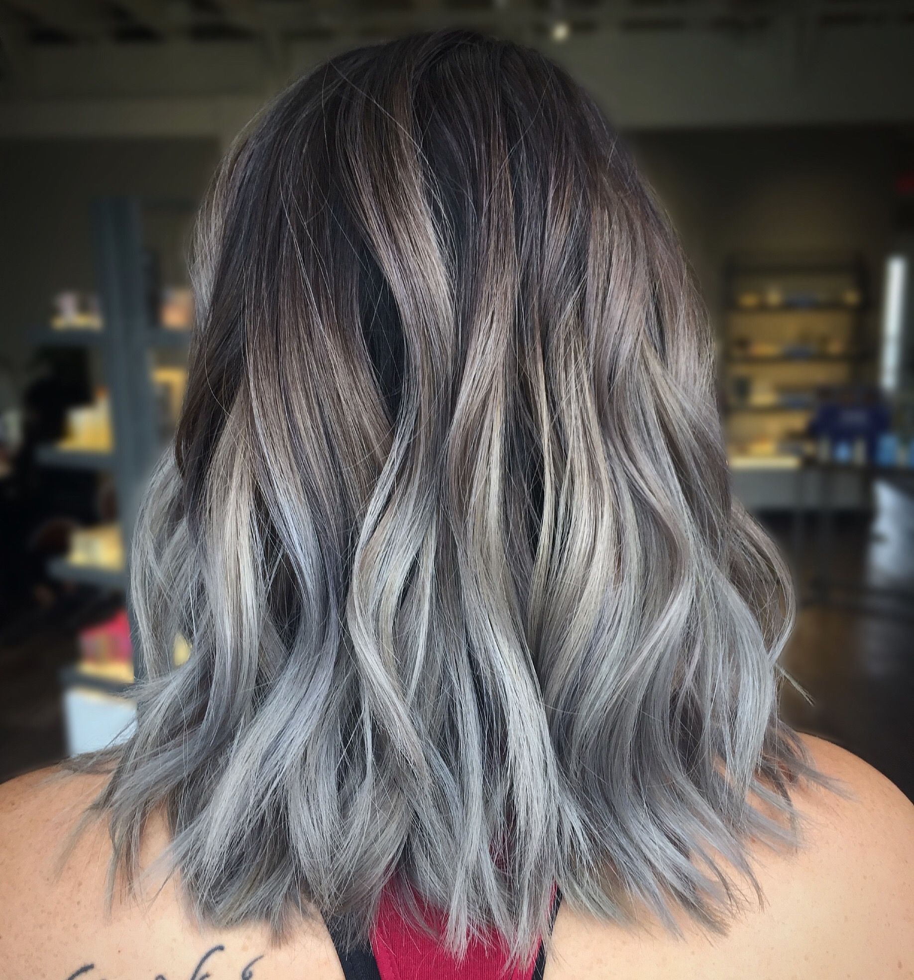 Smokey Grey Silver Balayage Silver Hair Color Balayage Hair Balayage Hair Grey