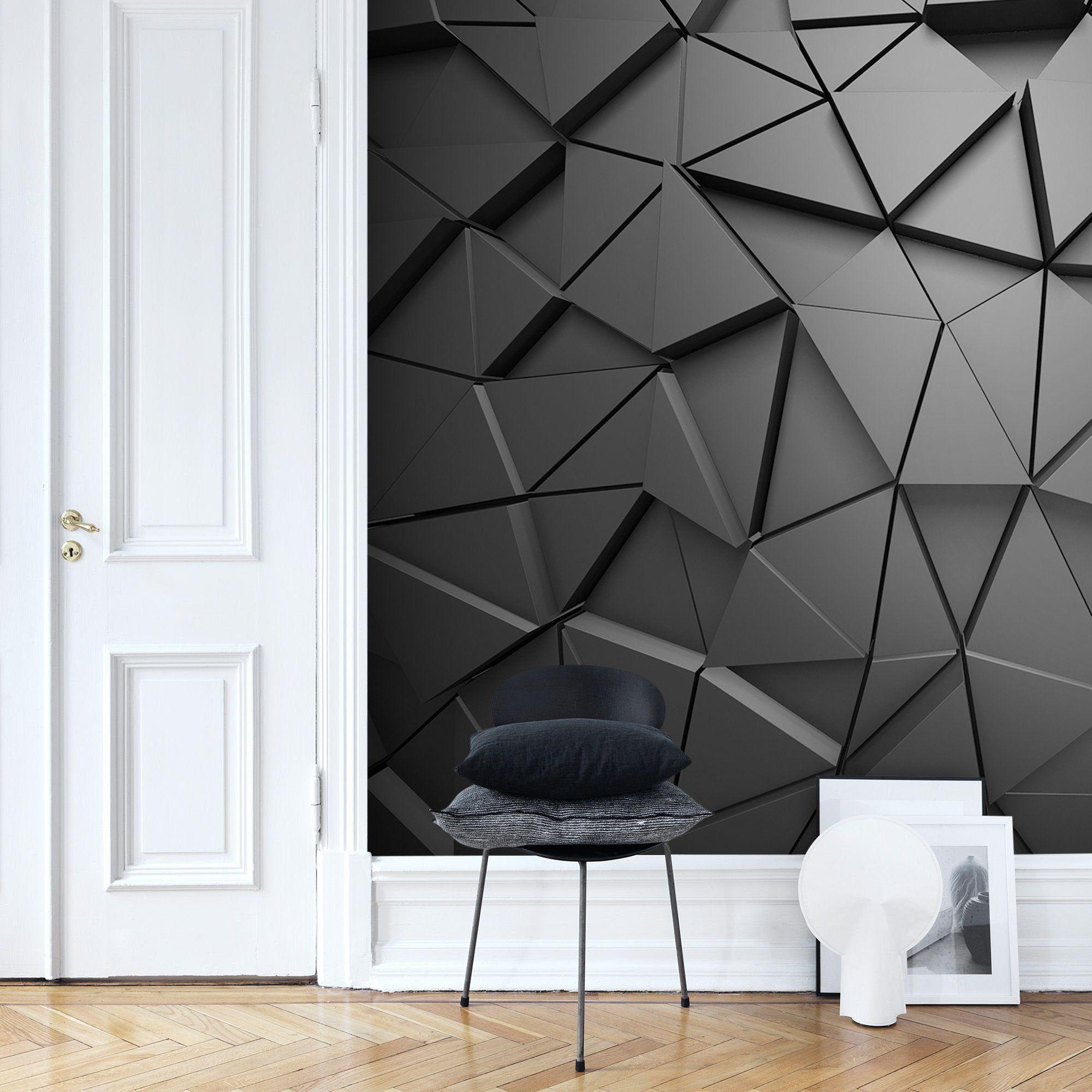 3d Black Grey Geometric Wallpaper Living Room Trendy Office