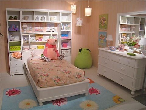 girls bed with bookcase towers & bridge, matching desk, bureau
