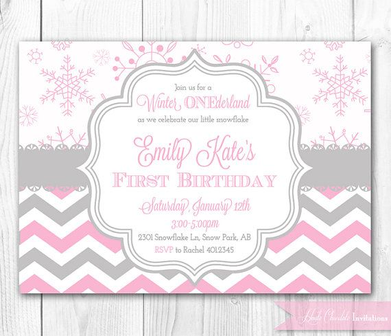 Winter ONEderland Birthday Invitation in Pink Gray Winter