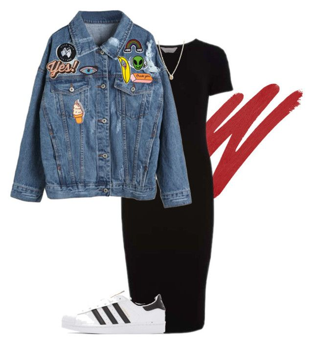 """""""Denim Jacket"""" by donutwsprinkles ❤ liked on Polyvore featuring NARS Cosmetics, Dorothy Perkins, WithChic, Tuesday Bassen, Anya Hindmarch, Sick Girls, Hipstapatch, Olympia Le-Tan, Ana Accessories and adidas Originals"""