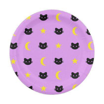 kitty Cat Moon And Stars Paper Plates - baby birthday sweet gift idea special customize personalize  sc 1 st  Pinterest & kitty Cat Moon And Stars Paper Plates - halloween decor diy cyo ...