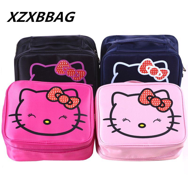 c676afa890 Hello Kitty Cat Waterproof Cosmetic Bag Women Toiletry Wash Pouch Cute  Makeup Case Female Nylon Make