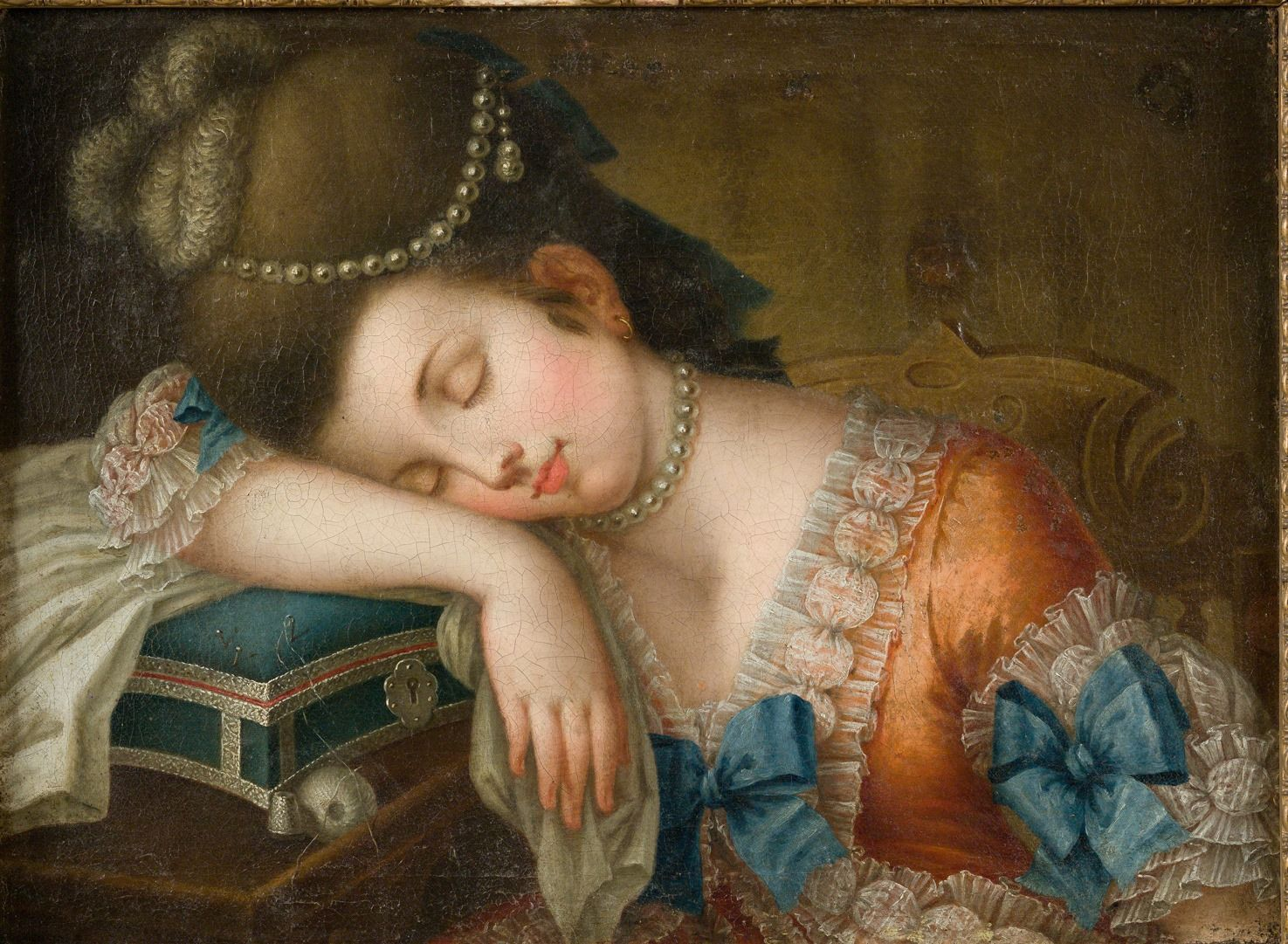 best images about th century museums portrait young w sleeping her sewing kit c 1780 unknown artist century art ladies18th