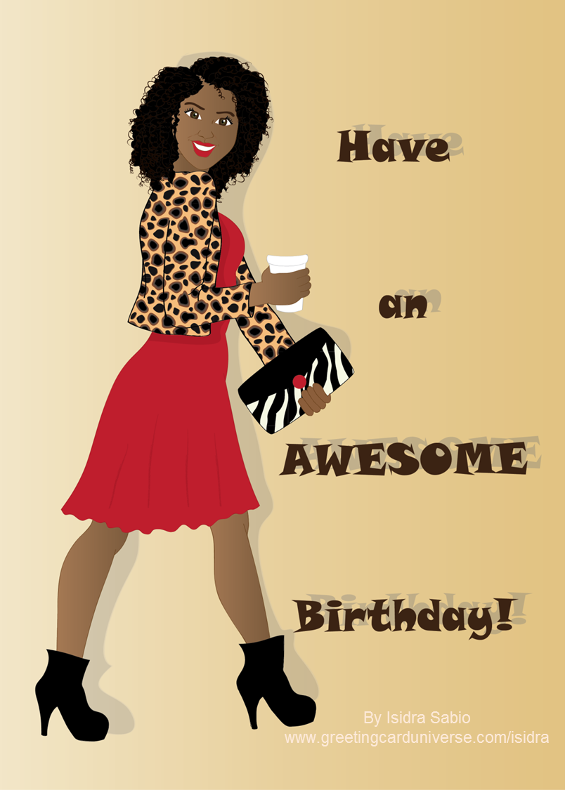 Birthday - Sophisticated girl in a red dress and leopard ...
