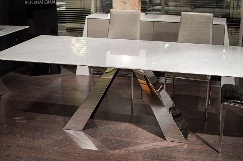 Stone International Butterfly Marble With Stainless Steel Base Rectangular Dining Table Dining Table Butterfly Dining Table Dining Table Marble