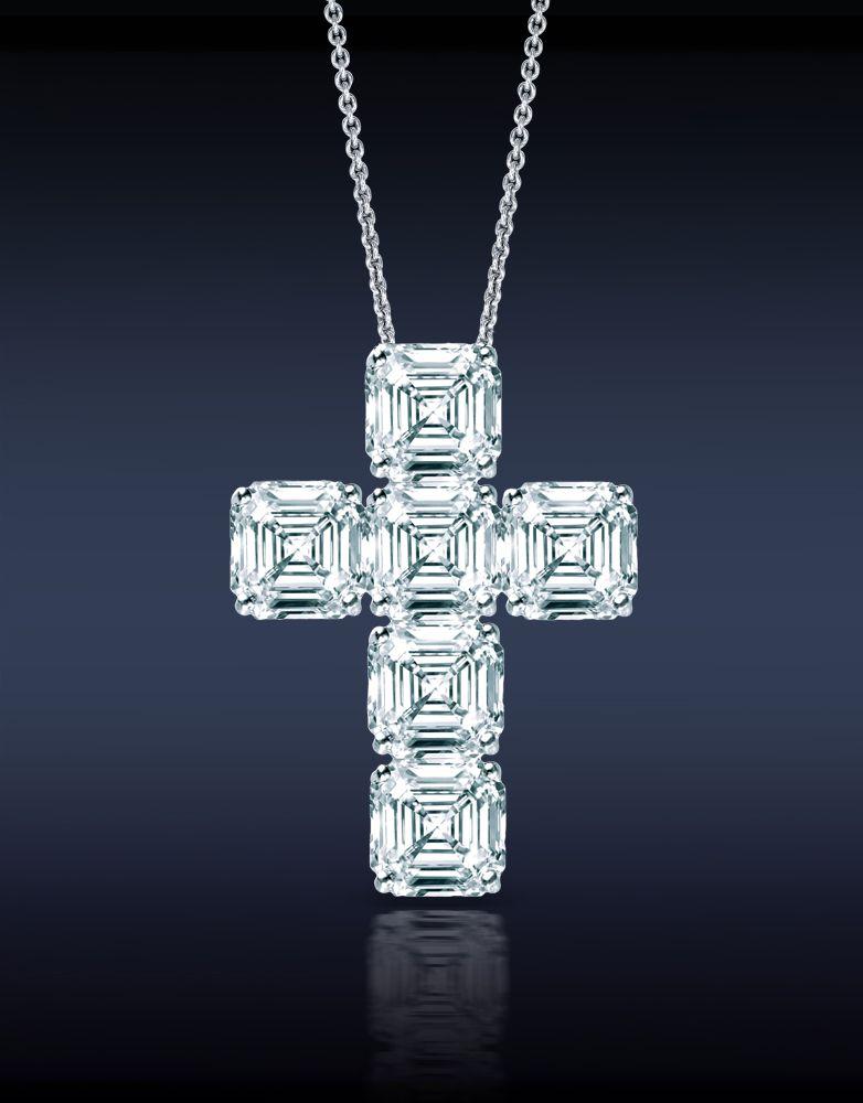 Jacob & Co. An Elegant Asscher Cut Diamond Cross Pendant, Mounted in 18K White Gold.