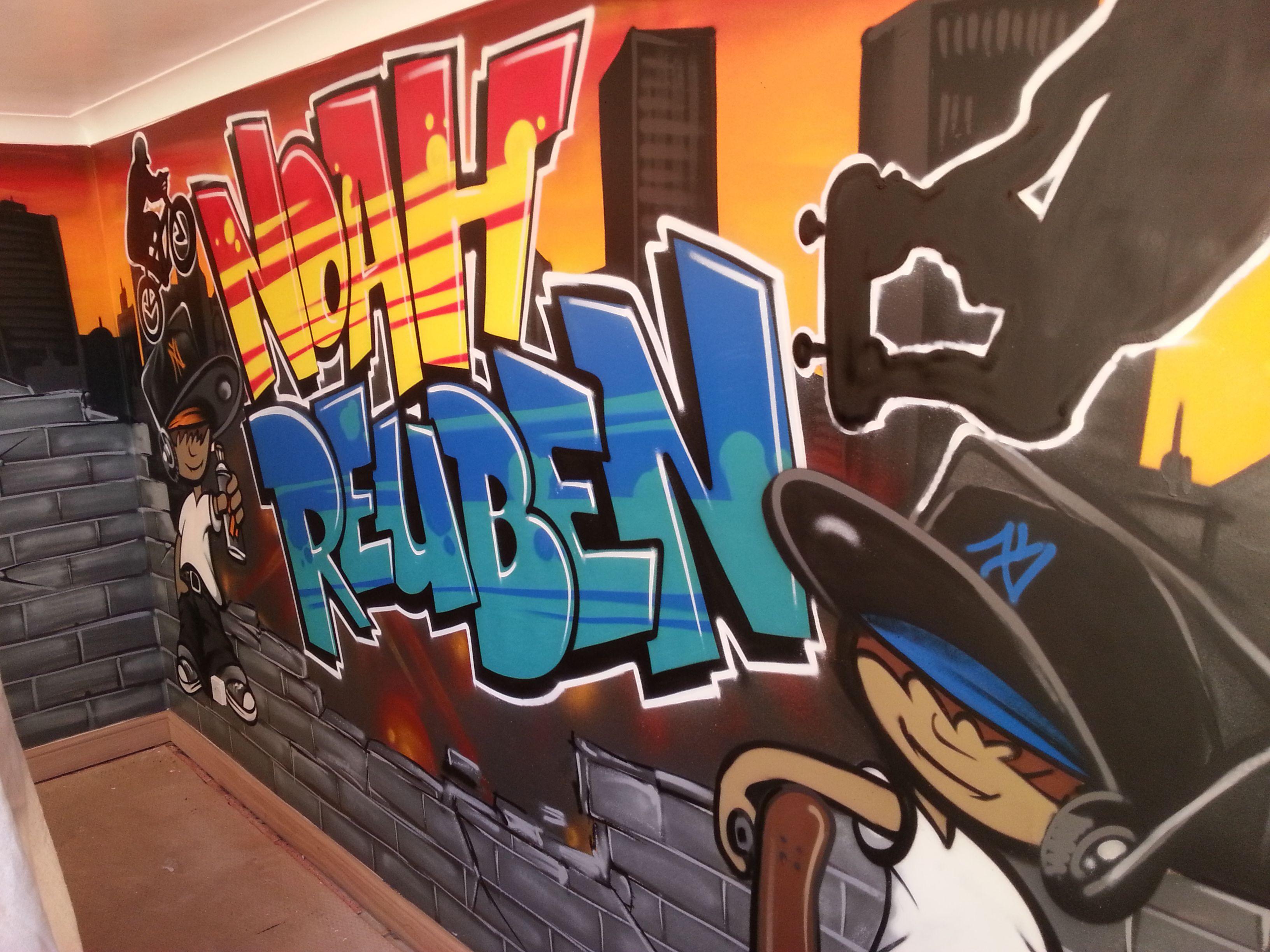 children / teen / Kids Bedroom Graffiti mural - hand painted Ollie wires graffiti  bedroom design #graffitibedroom #interior design | Graffiti Room ...