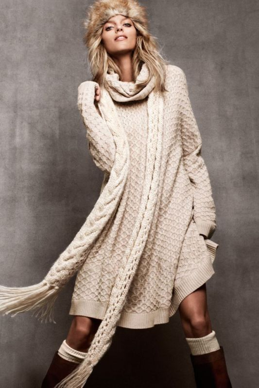 H M Oversized Beige Cowl Neck Cable Knit Sweater Dress Tunic