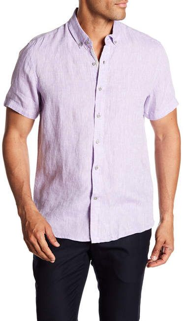 a06ad15a68 Report Collection Short Sleeve Slim Fit Linen Shirt Nordstrom Rack