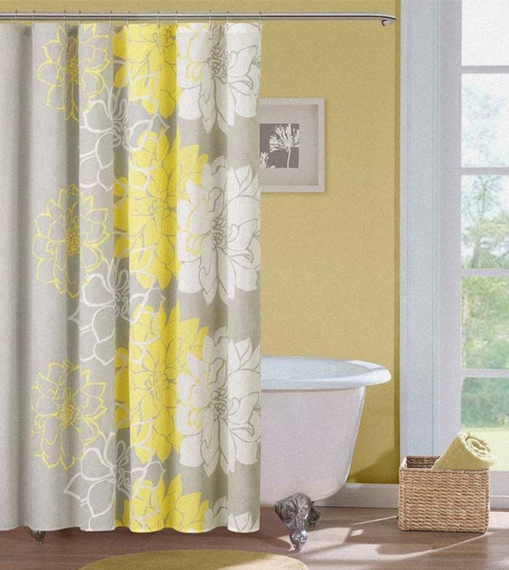 Grey An D Yellow Bathroomsw | Grey Yellow Shower Curtains Mellow Neutral  Beige Sunny Interior