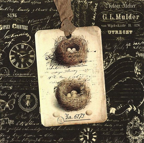Tags In Nature Bird Nests Vintage Look by luvcrystals on Etsy, $5.00