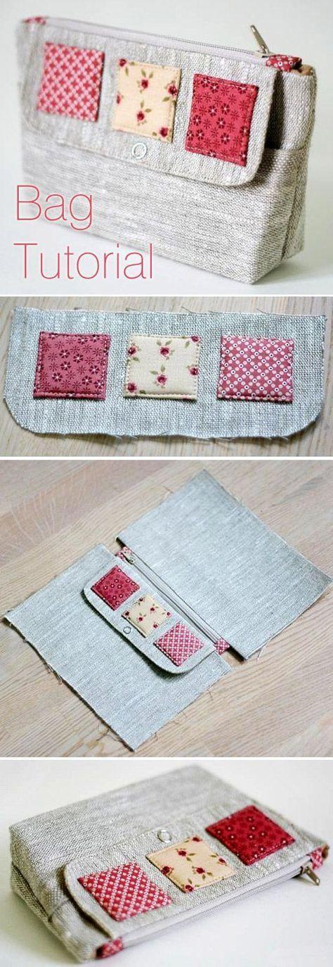 cosmetic bag of linen tutorial n hen taschen. Black Bedroom Furniture Sets. Home Design Ideas