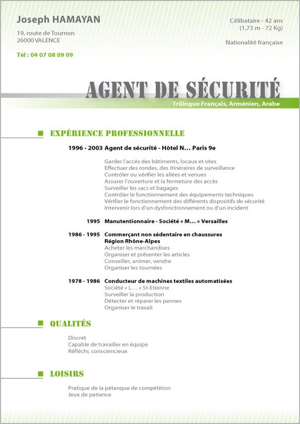 Modele Cv Agent Securite Jpg 584 826 Resume Sample Resume Free Resume