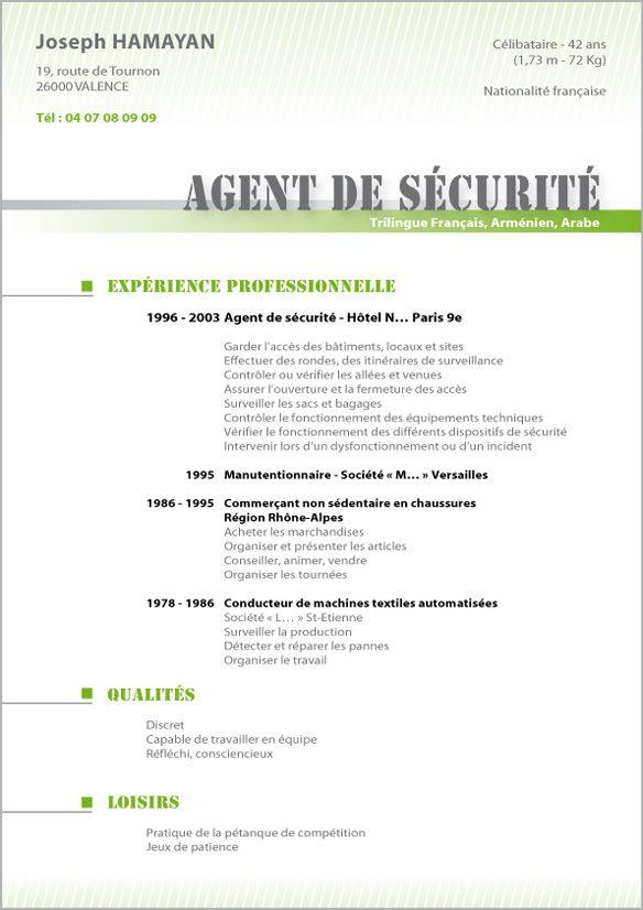 modele-cv-agent-securitejpg (584×826) cv Pinterest - surveillance agent sample resume