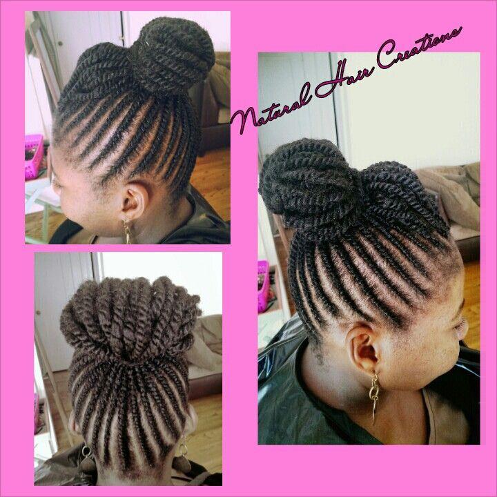 Flat Twist Bun Pompadour Style Natural Hair Nkycurlyrelaxed