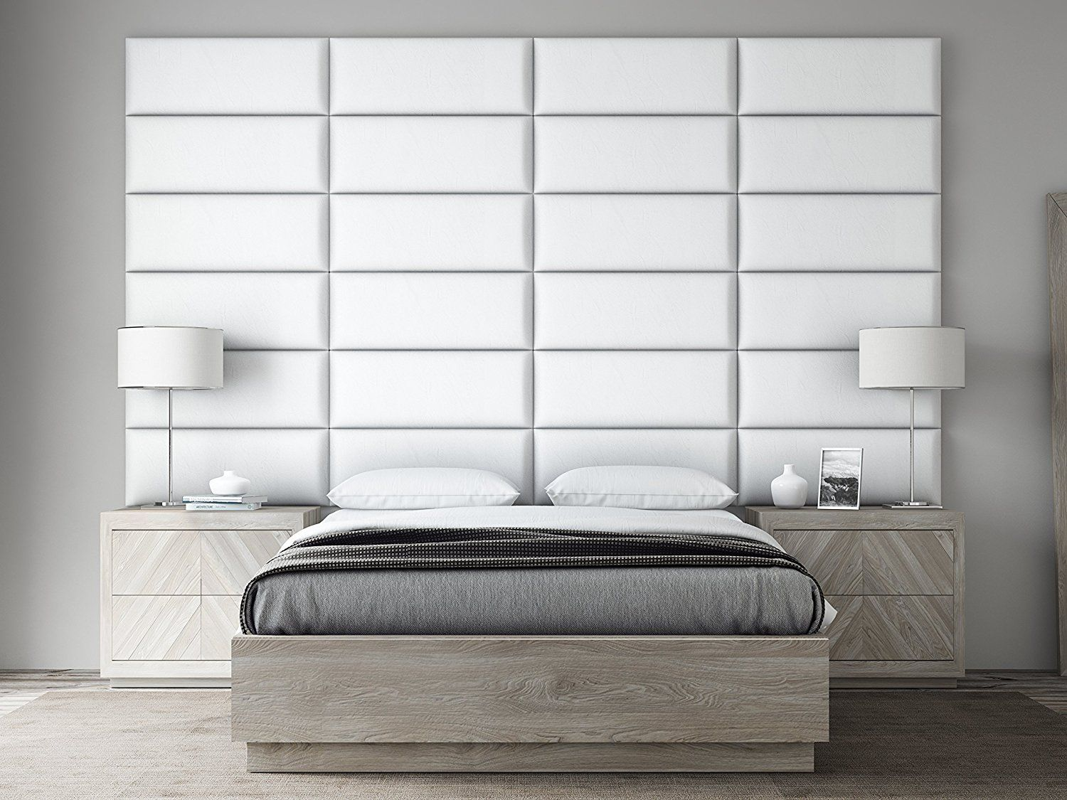 These White Upholstered Headboard Panels Can Be Used As A Headboard Accent Wall Or Focus Upholstered Headboard Queen Upholstered Headboard Upholstered Walls