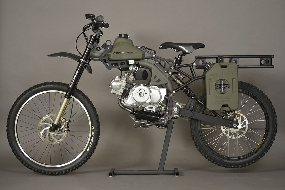 Motoped Survival Bike Motorcycle Camping Gear Bug Out Vehicle Bike