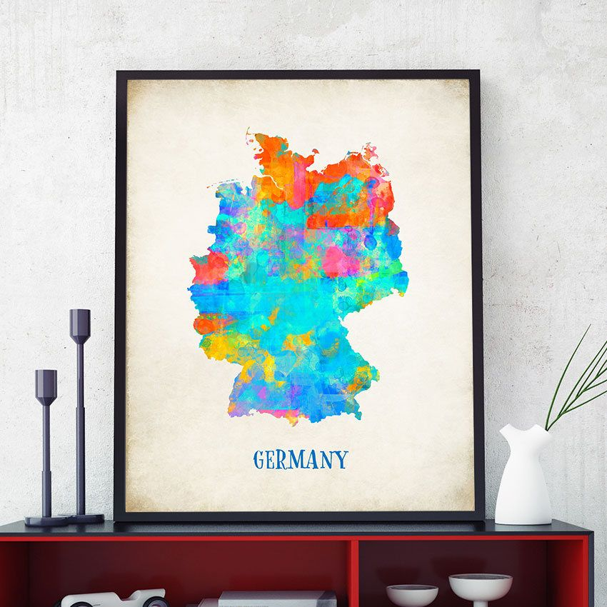 Germany map print germany map wall art map of germany poster germany map print germany map wall art map of germany poster watercolour map gumiabroncs Image collections