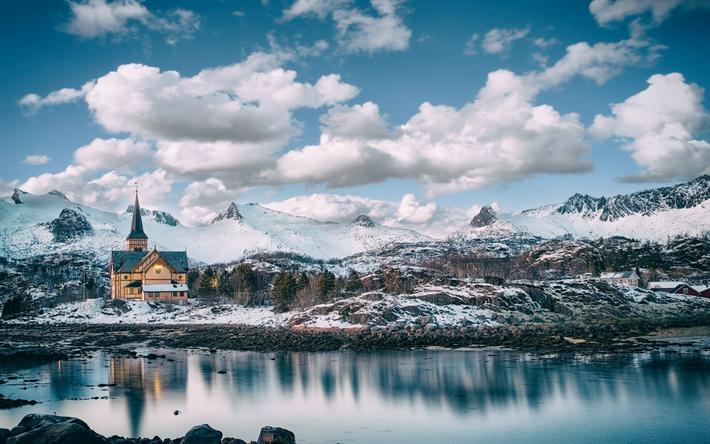 Scarica sfondi lofoten chiesa inverno montagna for Sfondi desktop inverno montagna