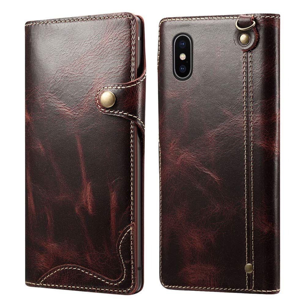 coque iphone xs max cuir veritable porte carte