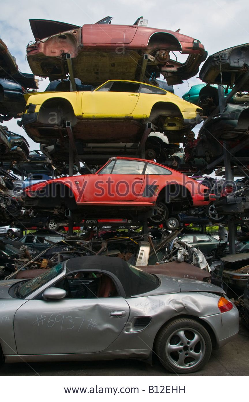 Stock Photo High Performance Expensive Porsche Motor Cars Awaiting Breaking Down For Spare Parts At Douglas Valley Breakers Porsche Motor Car Abandoned Cars
