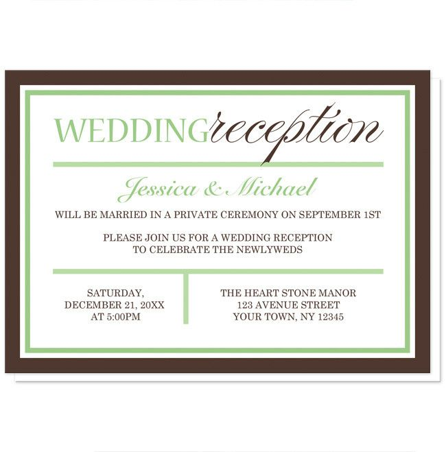 Small Ceremony Big Reception Invitations: Modern Green And Brown Reception Only Invitations