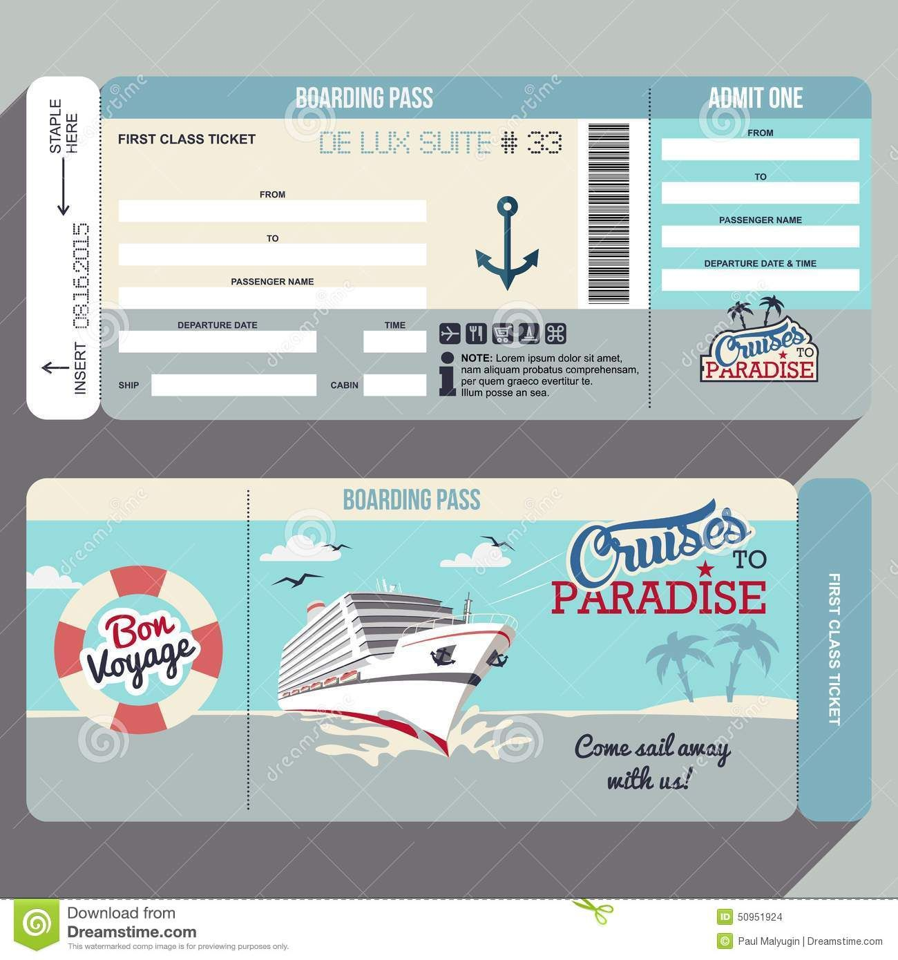 Cruises To Paradise Boarding Pass Design  Wedding Invites
