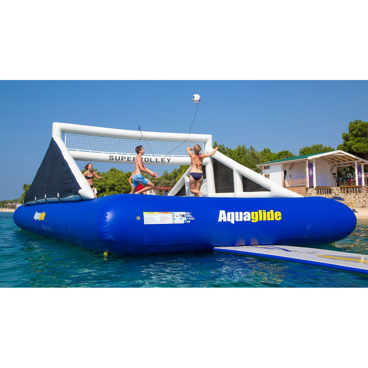 Aquaglide Supervolley Floating Volleyball Court With Supertramp 35 Trampoline Water Volleyball Floating In Water Lake Toys