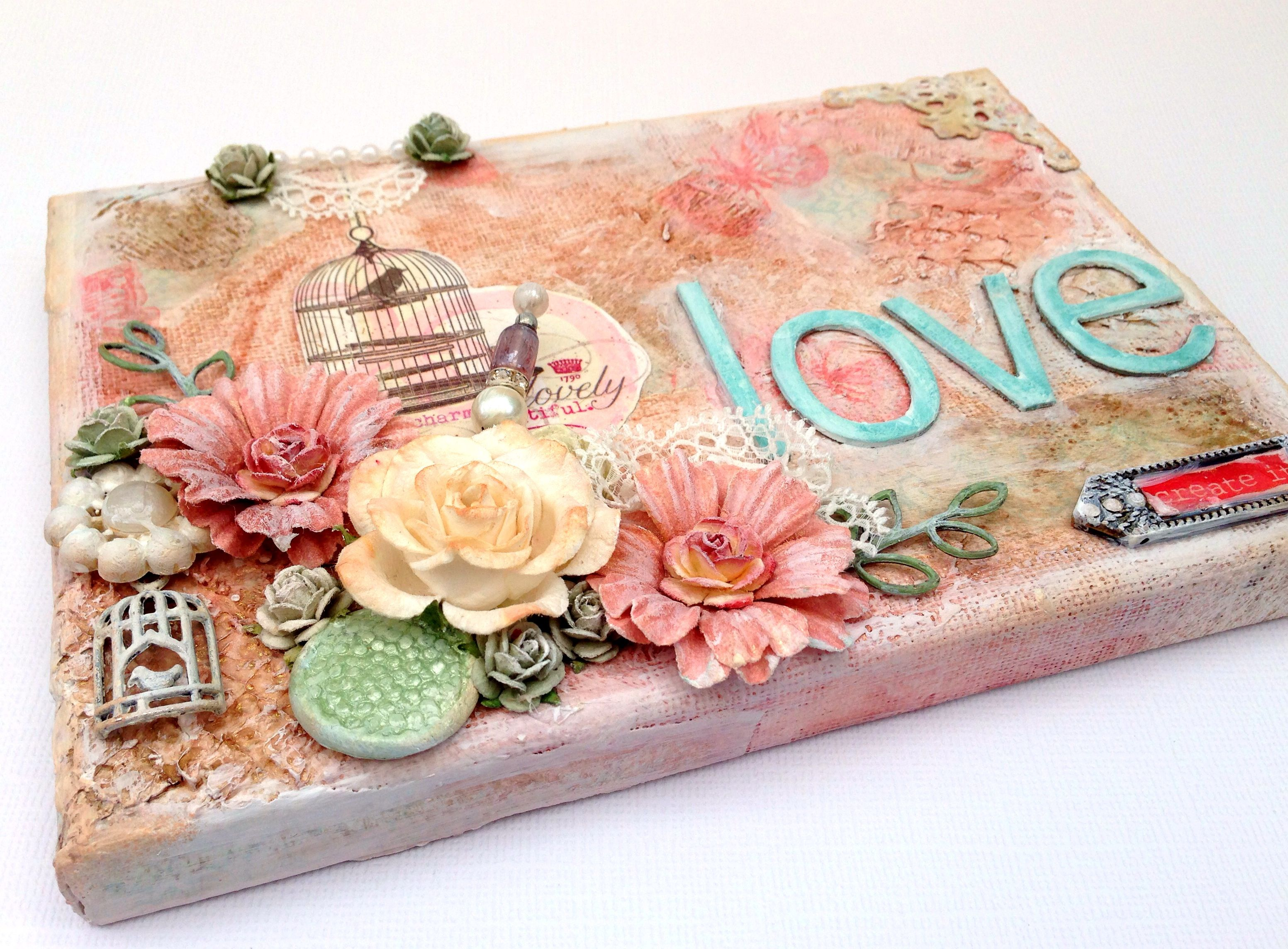 Mixed Media Shabby Chic Canvas With Mme Lost And Found Blush