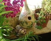 Handpainted Birdhouse Gourd Floral and Vines Cupola Romantic Shabby Chic  Cottage Home or Garden Decor
