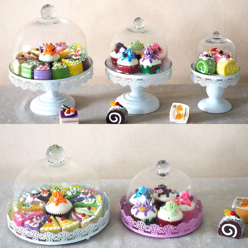 Europe wedding Glass cake food cover tools metal lace cake plate holder Fruit dessert Preservation Tableware home decoration casserole & Europe wedding Glass cake food cover tools metal lace cake plate ...