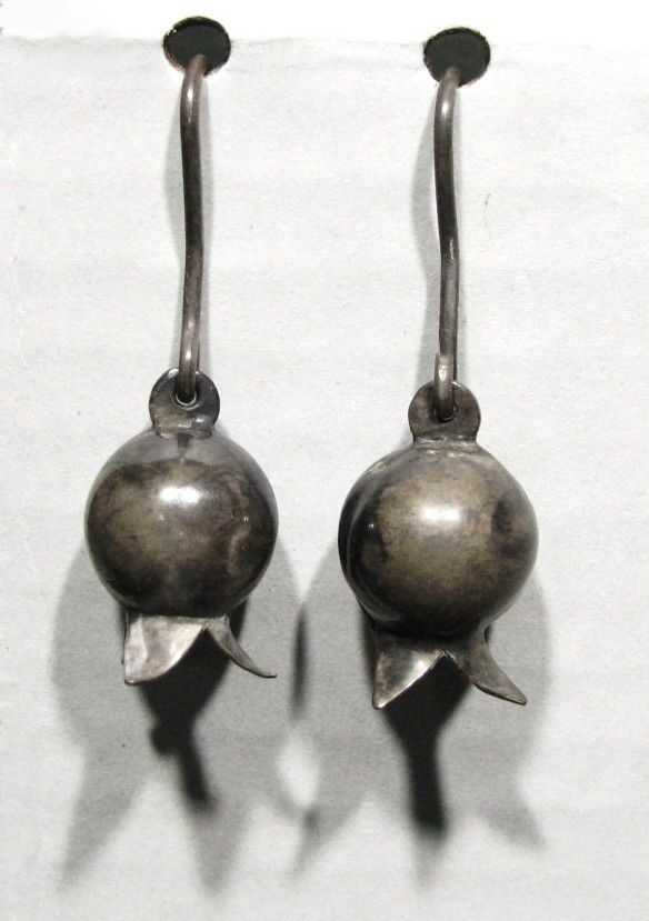 d9d921071 OLD PAWN 1920s Zuni ALL HANDMADE 925 Silver Pomegranate Squash Blossom  Earrings