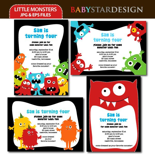 These adorable invitation templates are perfect for birthday party – Monster Party Invites