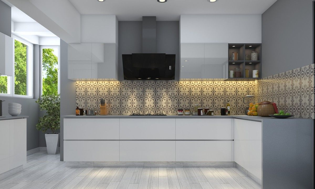 Grey And White Kitchen  Final  Pinterest  Kitchens Shapes And Extraordinary Designs Of Modular Kitchen Photos Design Decoration