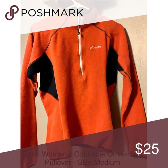 Women's Columbia 1/4 Zip Pull-Over. Women's Medium Coral 1/4 Zip Pullover. T…