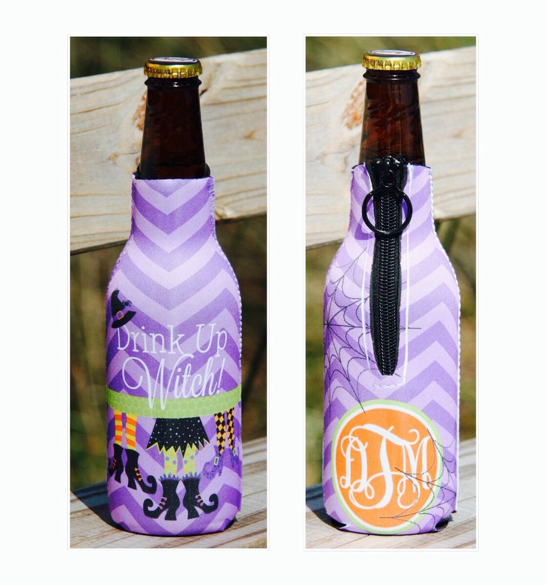 Drink Up Witch Personalized Long Neck Koozie Drinks Drink Up Koozies