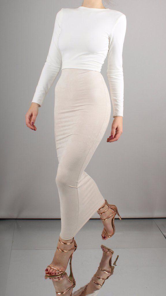 0e967ebe4941 Aaliyah Maxi Length Suedette Bodycon Skirt | Wardrobe | Body con ...