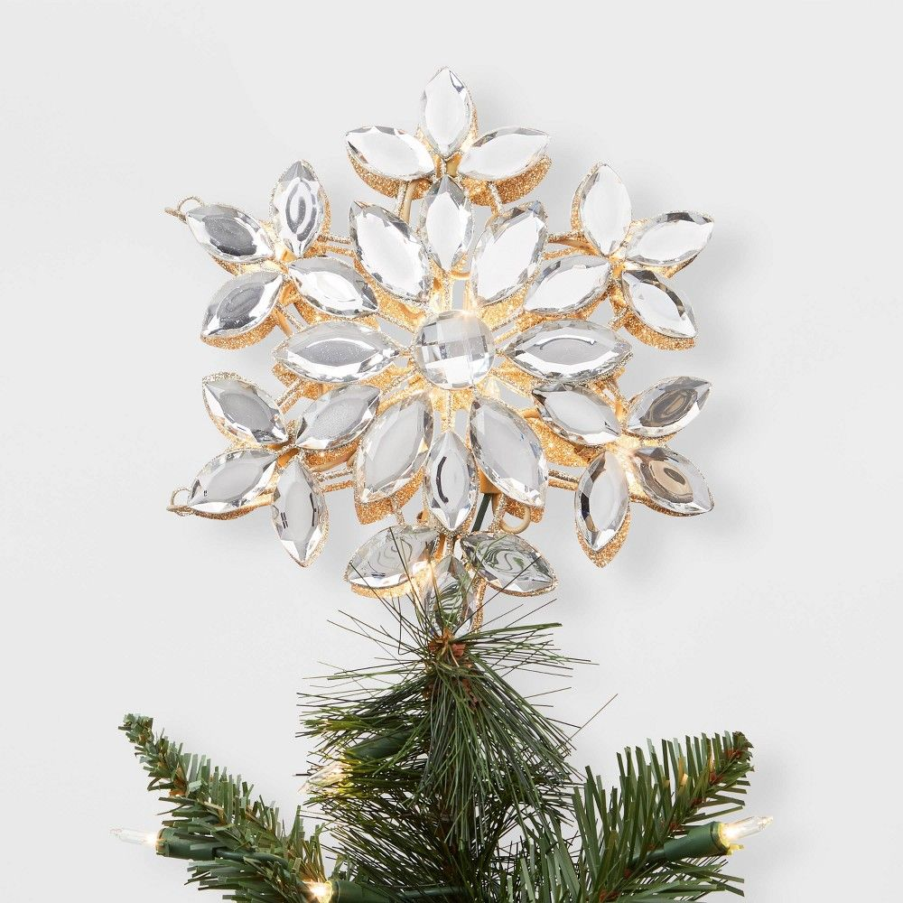 Lit Gem Snowflake Christmas Tree Topper Silver