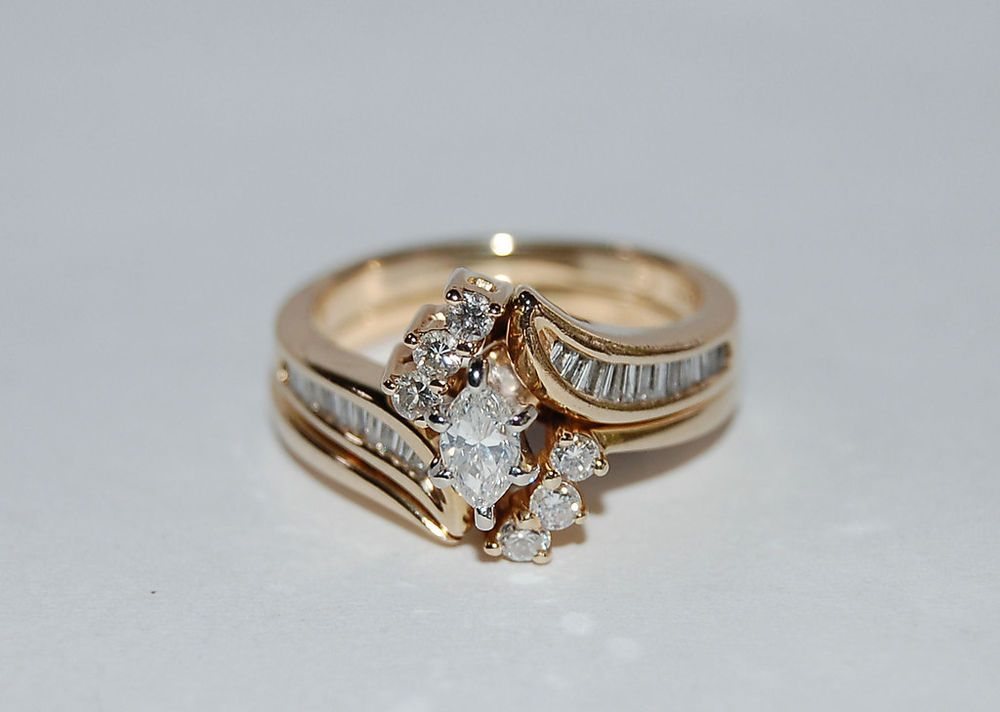Vintage 14k Yellow Gold Bridal Wedding Diamond Ring Set Zales 1995