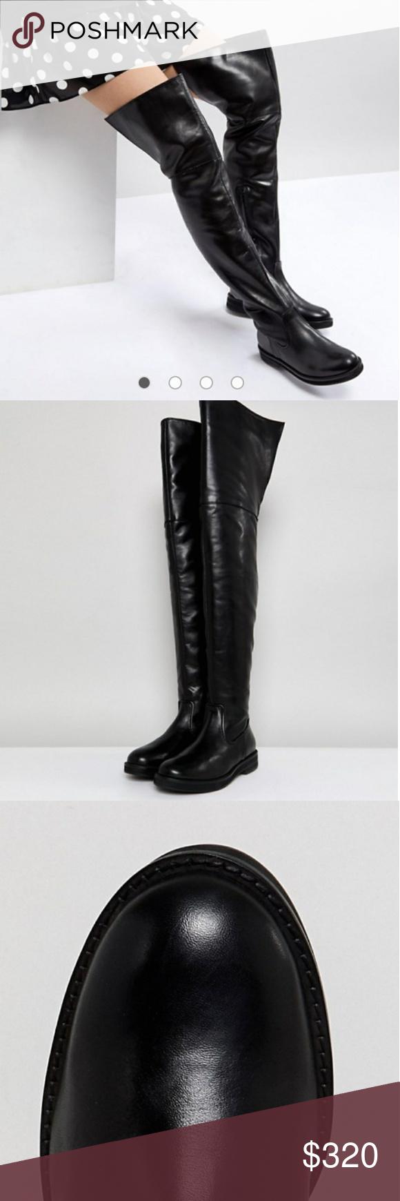 f47cb6a619c $320 Mango Leather Flat Knee High Boot OTK Black Boots by Mango ...
