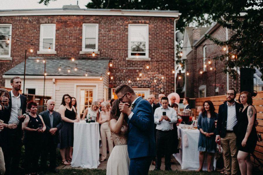 Backyard Wedding at Home with a Banner Backdrop ⋆ Ruffled