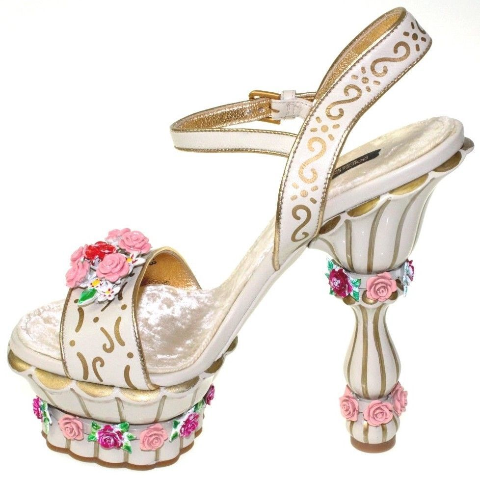 b30a5d4660d Dolce   Gabbana Leather Floral Hand Painting Cake Platform Heel Shoes NEW   3845 Starting bid  US  1
