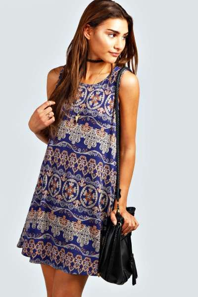9bbb248048a Leanne Paisley Swing Dress at boohoo.com