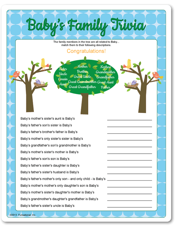 Amazing Family Baby Shower Games Part - 5: Printable Babyu0027s Family Trivia