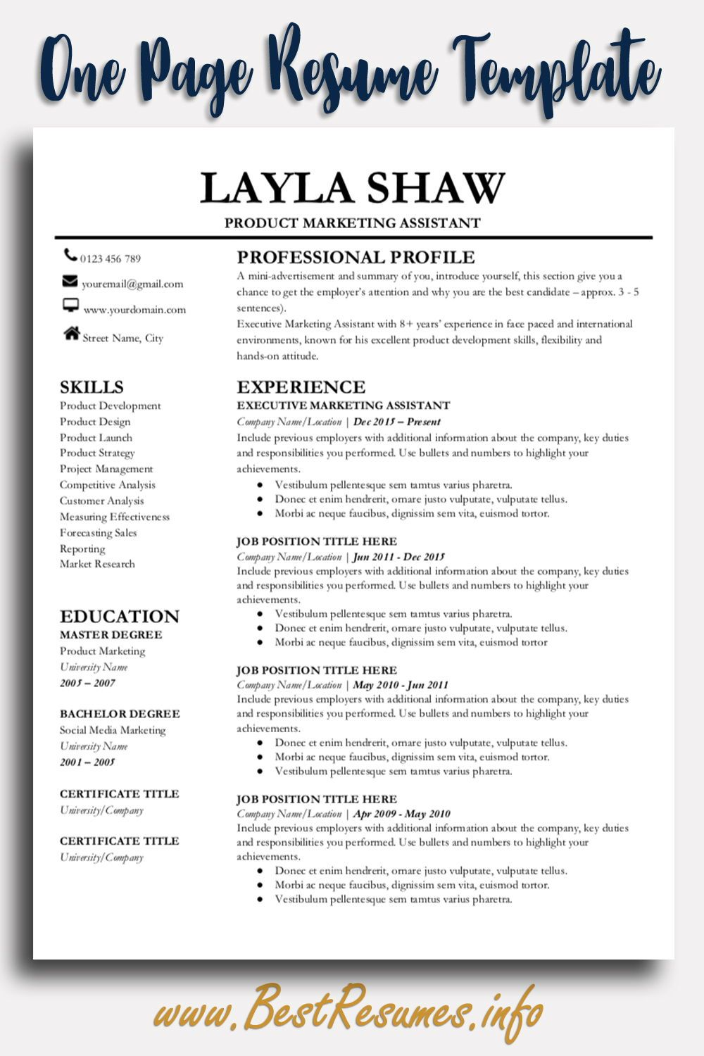 Professional Resume Template Layla Shaw - Resume template professional, First job resume, Resume template, One page resume template, Teacher resume template, Business resume - Resume Template Layla Shaw  A modern professional resume template for Google Docs, very easy to edit resume template! Land the job today!