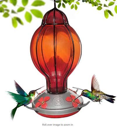 Grateful Gnome Hummingbird Feeder Hand Blown Glass Red Lantern With Round Top 28 Fluid Ou Hand Blown Glass Humming Bird Feeders Glass Hummingbird Feeders