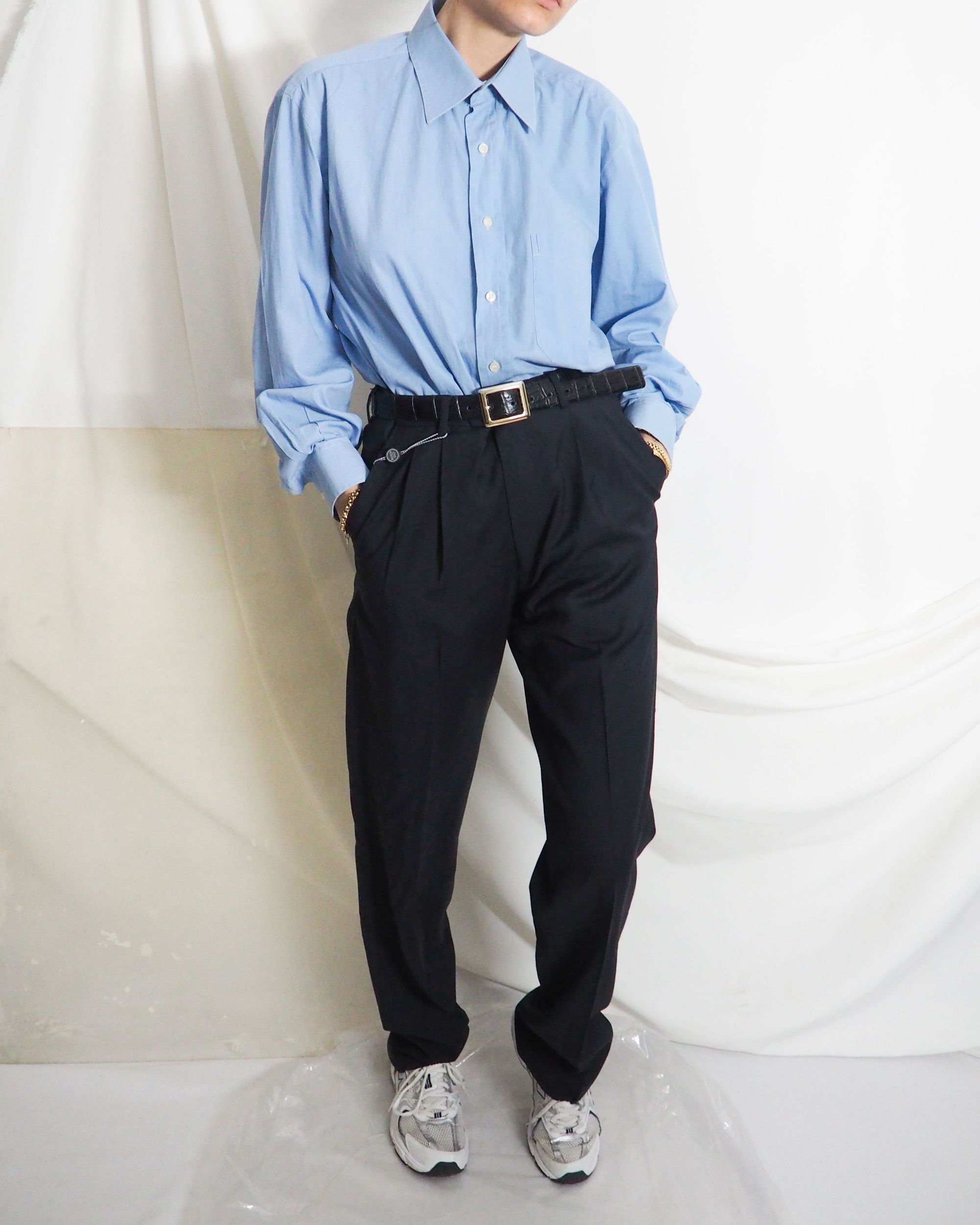 Vintage Blue Oversized Shirt With Navy Pleated Pants Trousers And New Balance 530 Untitled 19 In 2020 Vintage Clothing Online Vintage Outfits Online Shopping Clothes